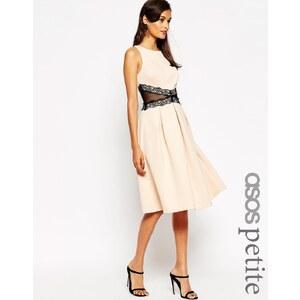ASOS PETITE - Robe de bal mi-longue avec bordure en dentelle - Rose