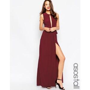 ASOS TALL - Maxi robe élégante à décolleté plongeant - Bordeaux