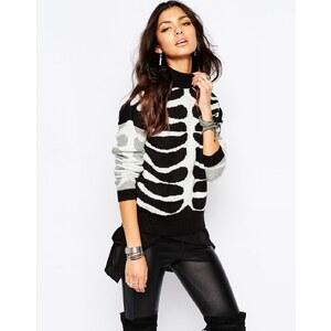 Noisy May - Hochgeschlossener Pullover mit Halloween-Skelett - Schwarz