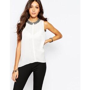 Pimkie - Ärmellose Bluse mit verziertem Kragen - Weiß