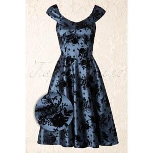 Vixen 40s Classy Floral Swing Dress in Blue