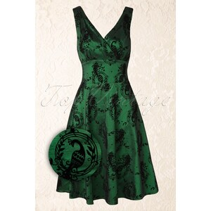 Vixen 50s Penny Peacock Flare Dress in Emerald Green