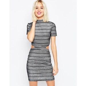 ASOS - Kurzes T-Shirt-Kleid mit Metallic-Streifen - Silber