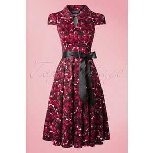 Hearts & Roses 50s Louisa Rose Tea Dress in Black and Red