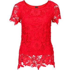 BODYFLIRT Top en dentelle rouge femme - bonprix