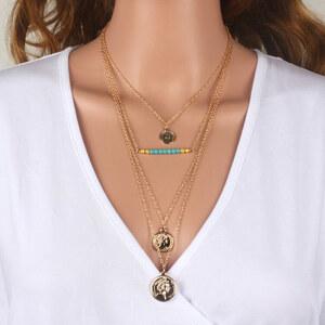 Lesara Mehrfach-Halskette mit Medaillon-Anhängern