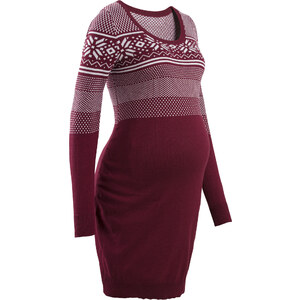 bpc bonprix collection Robe de grossesse en maille à motif norvégien rouge manches longues femme - bonprix