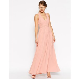 ASOS WEDDING - Maxi robe à encolure en V et dos torsadé - Nude 45,99 €