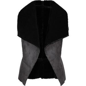 RAINBOW Weste, Lammfellimitat ohne Ärmel in schwarz für Damen von bonprix