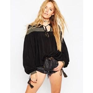 ASOS - Ultimate - Bluse mit Goldstickerei im Stil der 70er - Schwarz