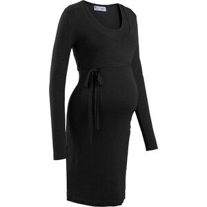 """bpc bonprix collection Robe en maille de grossesse/d""""allaitement avec lien à nouer noir manches longues femme - bonprix"""