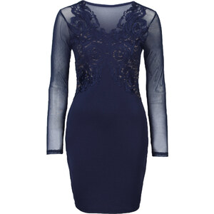 BODYFLIRT boutique Kleid mit Spitzenapplikation in blau von bonprix
