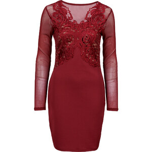 BODYFLIRT boutique Kleid mit Spitzenapplikation in rot von bonprix