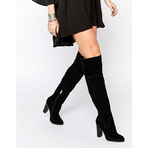 ALDO v Bove - Overknee-Stiefel mit Blockabsatz aus schwarzem Wildleder - Schwarzes Wildleder