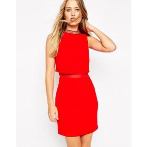 ASOS - Verziertes Kleid mit stehendem Kragen - Nude 19,99 €