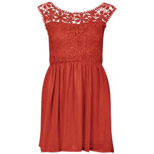 Club L Women's Floral Crochet Skater Dress - Cherry