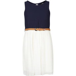 Club L Women's Colour Block Belted Skater Dress - Navy/Cream