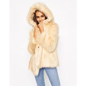 ASOS - Mantel mit übergroßer Kapuze in Vintage-Felloptik - Beige