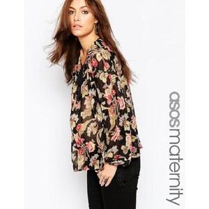 ASOS Maternity- Folklore-Bluse mit Vintage-Blumenmuster - Mehrfarbig