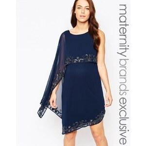 Maya Maternity Verziertes Lagen-Kleid - Marineblau