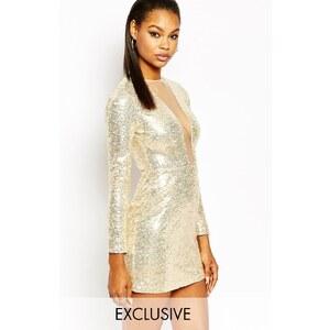 Rare London - Tief ausgeschnittenes, langärmliges, figurbetontes Kleid mit Paillettenbesatz - Gold
