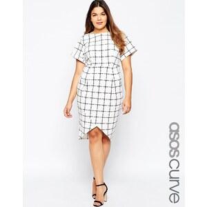 ASOS CURVE - Asymmetrisches Wiggle-Kleid mit Karogittermuster