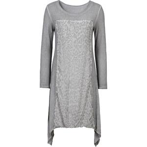 BODYFLIRT Shirtkleid mit Zipfeln langarm in grau von bonprix
