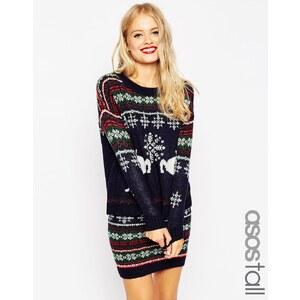 ASOS TALL - Weihnachtlicher Pullover zum Kombinieren mit Fair Isle-Muster und Rentiermotiv - Marineblau