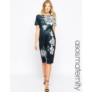 ASOS Maternity - Hochwertiges, figurbetontes Neopren-Kleid in mittlerer Länge mit Blumenmuster - Mehrfarbig