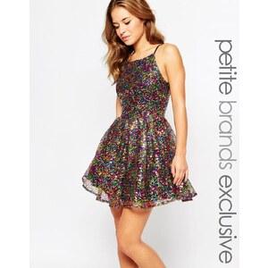 True Decadence Petite - Skaterkleid mit Bardot-Ausschnitt - Mehrfarbig