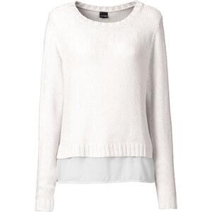 BODYFLIRT Pullover langarm in weiß (Rundhals) für Damen von bonprix