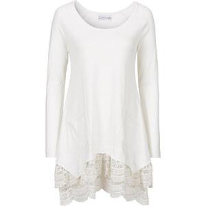 bpc bonprix collection Tunique manches longues avec dentelle blanc femme - bonprix