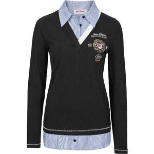 John Baner JEANSWEAR Sweat-shirt style 2 en 1 noir manches longues femme - bonprix
