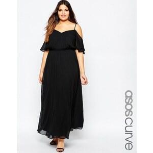 ASOS CURVE - Maxi robe avec manches évasées et épaules découvertes - Noir