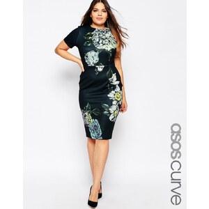 ASOS CURVE - Premium - Figurbetontes Kleid mit Blumenmotiv - Druck