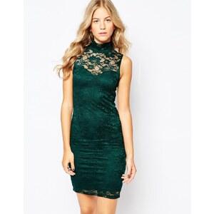 Vero Moda - Figurbetontes Spitzenkleid mit hohem Ausschnitt - Grün