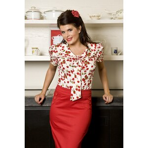 Collectif Clothing 50s Lucille blouse Cherry white bow
