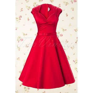 Pinup Couture Heidi dress in Red Sateen