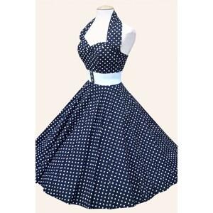 Vivien of Holloway Halter Navy White Spot Dress Cotton Sateen