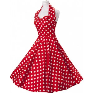 Vivien of Holloway 50s Retro halter Polka Dot Red White swing dress cotton sateen