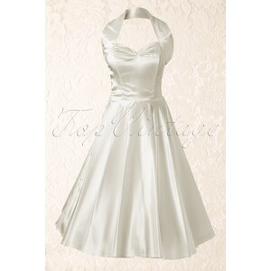 Vivien of Holloway 1950s Retro halter Ivory Duchess swing dress bridesdress