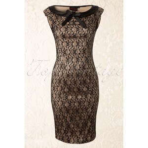 Vixen 30s Classy Black Lace Pencil Dress Champagne