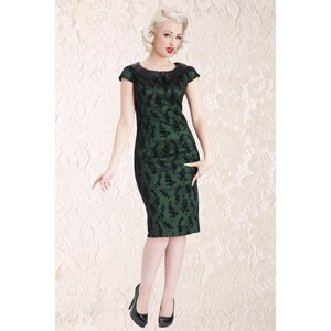 Vixen 30s Classy Black Lace Pencil Dress Satin Green