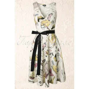 Retrolicious 50s Le Vintage Papillon Dress in Cream