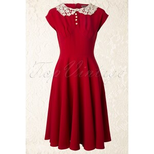 Bunny 40s Emilie Dress in Red
