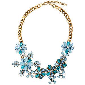 TOM TAILOR statement necklace Statement-Kette im Blüten-Look für Frauen (mehrfarbig, mit verstellbarem Karabiner-Verschluss) Materialmix mit Metall, tropfenförmi
