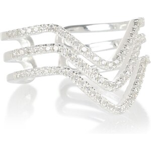 Marks and Spencer Platinierter Ring aus Sterlingsilber mit Glitzerelementen und V-Design