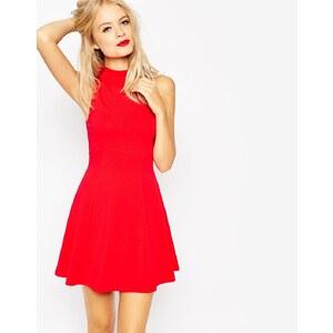 ASOS - Empire-Kleid mit hohem Kragen - Rot