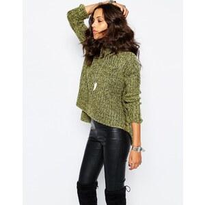 Stitch & Pieces - Pullover mit abfallendem Saum und seitlichen Schlitzen - Khaki