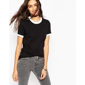 ASOS - T-shirt à bordures contrastantes - Noir